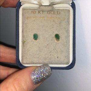 Emerald 10k yellow gold earrings